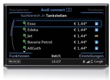 Audi Connect zeigt jetzt die aktuellen Spritpreise