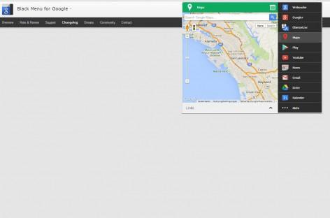 """Chrome Erweiterung """"Black Menu for Google"""" fasst Google's Dienste in einem Menü zusammen"""