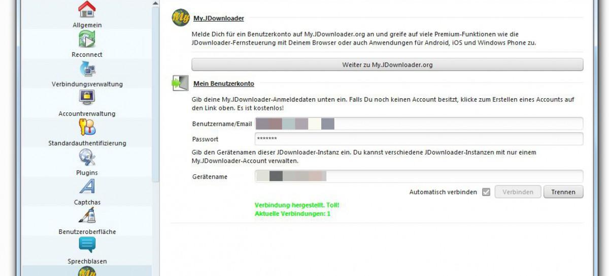 jDownloader fernsteuern mit myjDownloader Webinterface