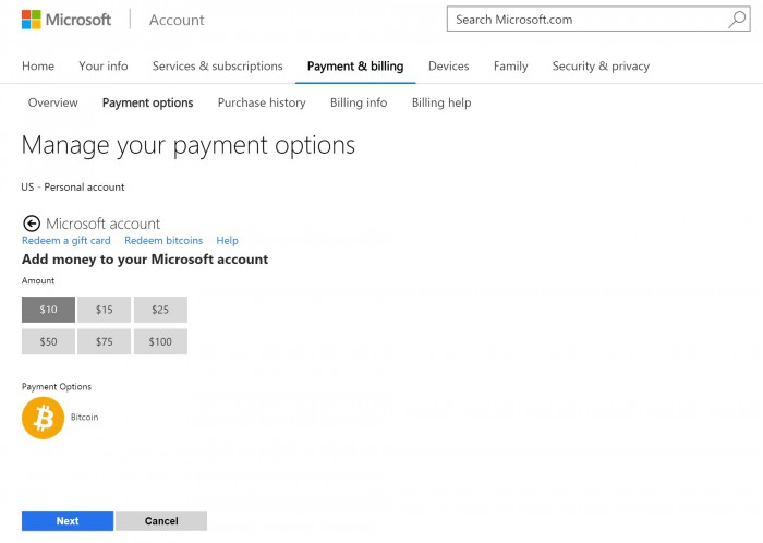 Microsoft Account Bitcoins